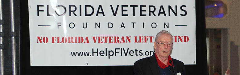 General Robert F. Milligan addresses the crowd at the 10th Anniversary for the Florida Veterans Foundation